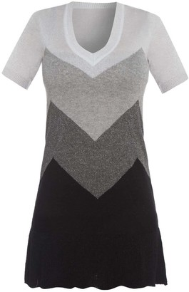 Short Sleeve Silver Metallic Knit Dress