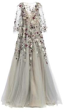 Marchesa Women's Floral Embellished Ball Gown - Smoke - Size 10