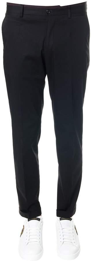 Dolce & Gabbana Chino Black Cotton Pants With Side Stripe