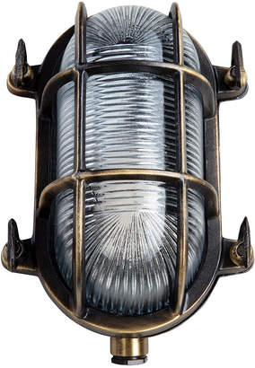 Old School Electric - Oval Bulkhead Outdoor Wall Light - Antique Brass - Small