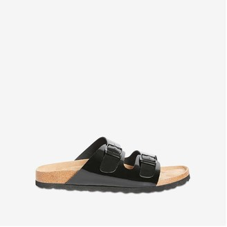Joe Fresh Women's Double Buckle Strap Slides, Black (Size 9)