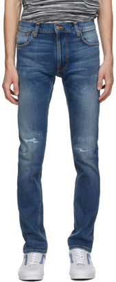 Nudie Jeans Blue Ripped Thin Finn Jeans