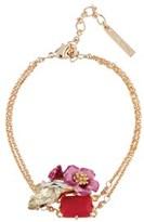 Les Nereides Dazzling Discretion Fuchsia Flower And Stones Bracelet.