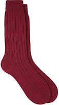 Barneys New York Men's Ribbed Cashmere-Blend Mid-Calf Socks-BURGUNDY, RED