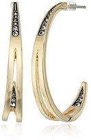 Cole Haan Cutout Pave C Gold Hoop Earrings