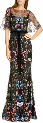 Marchesa Floral Tulle Overlay Trumpet Gown