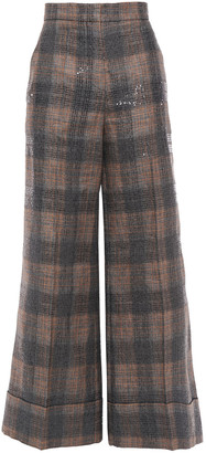 Brunello Cucinelli Sequin-embellished Checked Linen-blend Wide-leg Pants