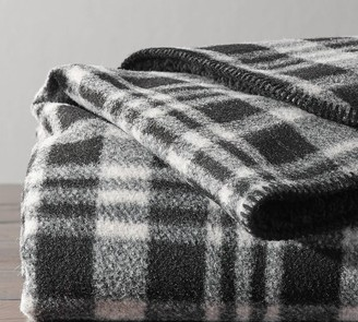 Pottery Barn Wallace Plaid Sherpa Back Throw