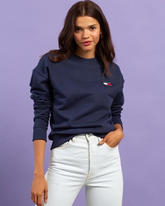 Tommy Jeans Women's Blue Sweats - Tommy Badge Crew Sweatshirt - Size XS at The Iconic