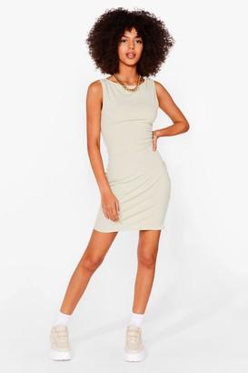 Nasty Gal Womens Got Your Back Ribbed Mini Dress - Sage