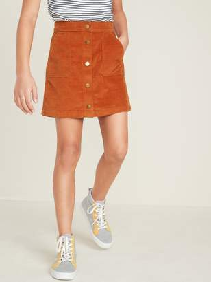 Old Navy High-Rise Snap-Front Corduroy Skirt for Girls