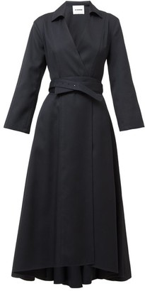 Jil Sander Narcy Belted Virgin-wool Midi Shirt Dress - Navy