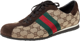 Gucci Brown/Beige GG Canvas and Suede Web Low Top Sneakers Size 41