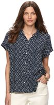 Chaps Women's Printed Crinkle Blouse