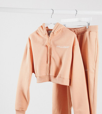 Collusion plus exclusive cropped zip through hoodie in apricot
