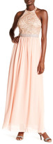 City Triangles Halter Neck Chiffon Gown
