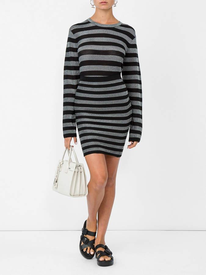 Alexander Wang Lurex striped knit pencil skirt