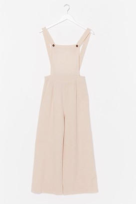 Nasty Gal Womens Linen to Your Heart Wide-Leg Dungarees - Beige - L