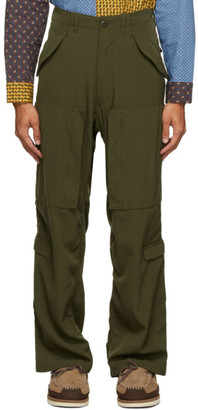 Beams Khaki Military Zip Trousers