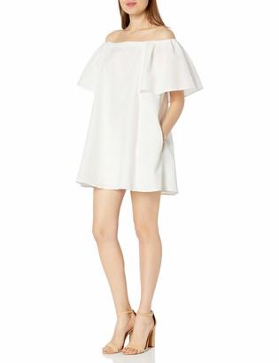 Halston Women's Flowy Sleeve Off Shoulder Jacquard Dress