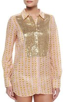 Figue Lamu Printed Sequined Silk Blouse