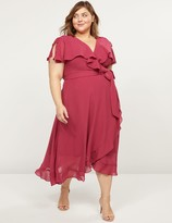 Lane Bryant Flutter-Sleeve Faux-Wrap Midi Dress