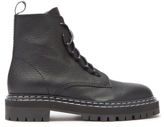 Proenza Schouler Logo-pull Grained-leather Boots - Black