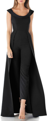 Kay Unger New York Anais Stretch Crepe Jumpsuit with Skirt Overlay