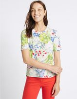 Marks and Spencer Floral Textured Short Sleeve Top