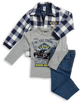 Nannette Boys 2-7 Quilted Plaid Jacket, Tee and Jeans Set