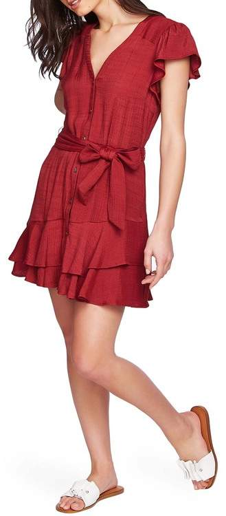 1 STATE 1.State Asymmetrical Ruffle Fit & Flare Dress