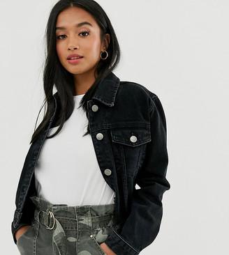 Asos DESIGN Petite denim shrunken jacket in washed black