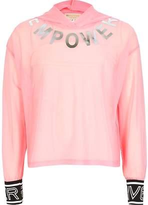 River Island Girls RI Active pink mesh 'Empower' hoodie