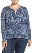 Sejour Plus Size Women's Print Crewneck Cardigan