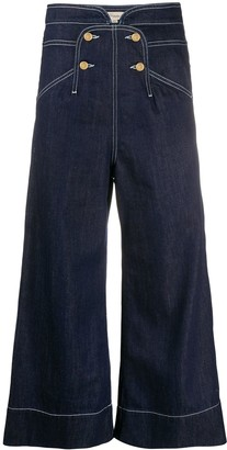 Temperley London Fontana high-rise wide-leg cropped jeans