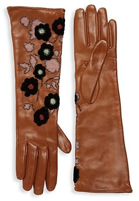 Valentino Floral Embroidery Leather Long Gloves