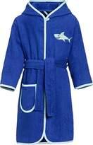 Playshoes Boy's Kinder Frottee-Bademantel Hai mit Kapuze Bathrobe, Blue (blau)
