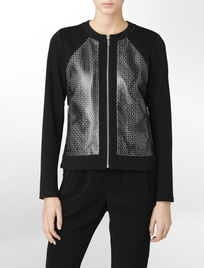 Calvin Klein Retro Cutout Pattern Zip-Front Jacket