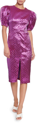 Rotate by Birger Christensen Katrina Metallic Jacquard Short-Sleeve Dress