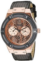 GUESS Women's U0289L4 Rose Gold-Tone Multi-Function Watch with Grey Python Dial