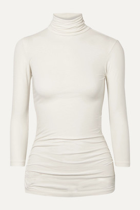 James Perse Ruched Stretch-cotton Jersey Turtleneck Top - Ivory