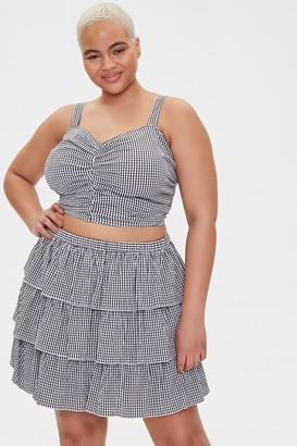 Forever 21 Plus Size Gingham Tiered Skirt