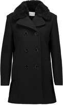 Sandro Many shearling-trimmed wool-blend coat
