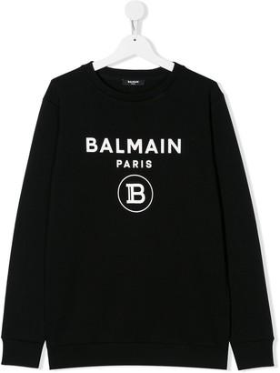 Balmain Kids TEEN printed logo sweatshirt