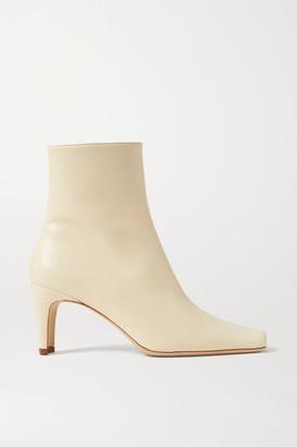 STAUD Eva Leather Ankle Boots - Cream