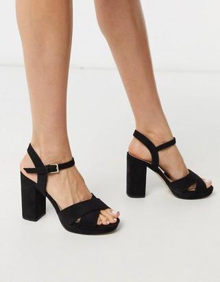 Miss KG charley platform crossover sandals in black