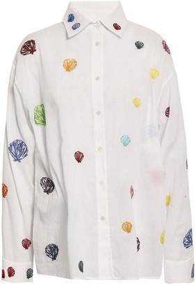 Rosie Assoulin Embroidered Cotton-gauze Shirt