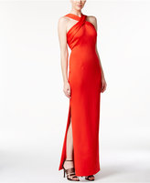 Calvin Klein Side-Slit Sleeveless Halter Gown