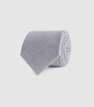Reiss Ceremony - Textured Silk Tie in Silver
