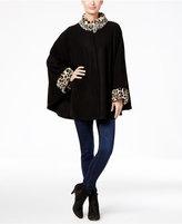 Cejon Fleece and Leopard-Print Faux Fur-Trim Cape